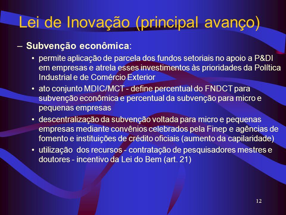 Lei de Inovação (principal avanço)