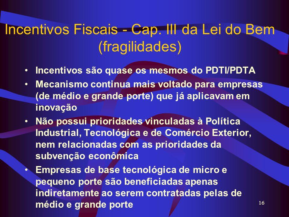 Incentivos Fiscais - Cap. III da Lei do Bem (fragilidades)