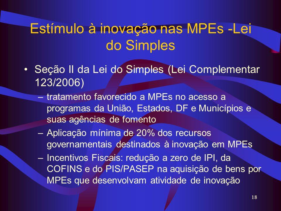 Estímulo à inovação nas MPEs -Lei do Simples