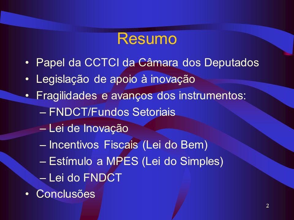 Resumo Papel da CCTCI da Câmara dos Deputados