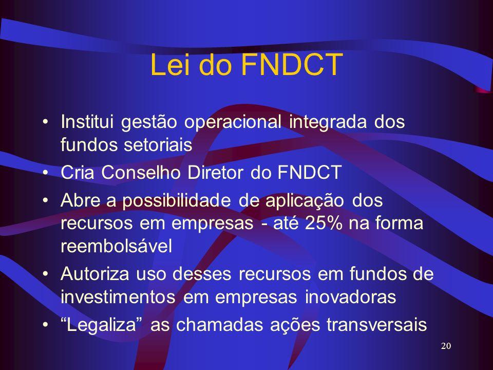 Lei do FNDCT Institui gestão operacional integrada dos fundos setoriais. Cria Conselho Diretor do FNDCT.