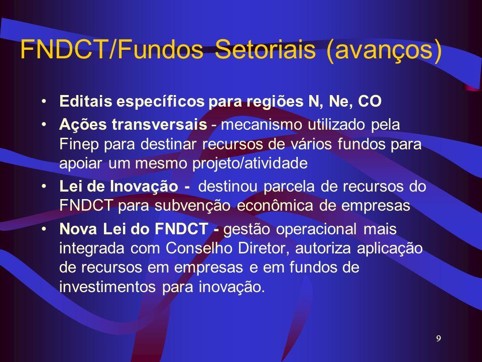 FNDCT/Fundos Setoriais (avanços)