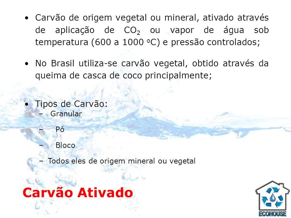 Carvão de origem vegetal ou mineral, ativado através de aplicação de CO2 ou vapor de água sob temperatura (600 a 1000 oC) e pressão controlados;