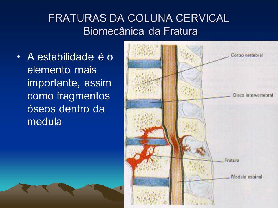 FRATURAS DA COLUNA CERVICAL Biomecânica da Fratura