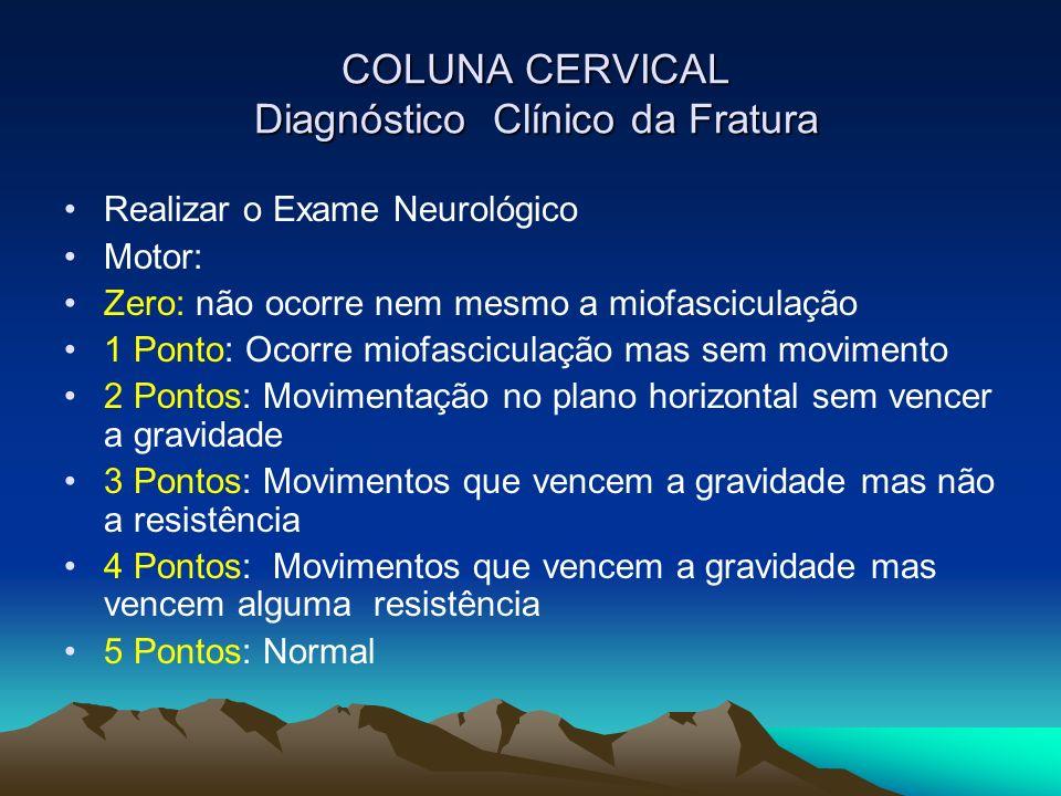 COLUNA CERVICAL Diagnóstico Clínico da Fratura