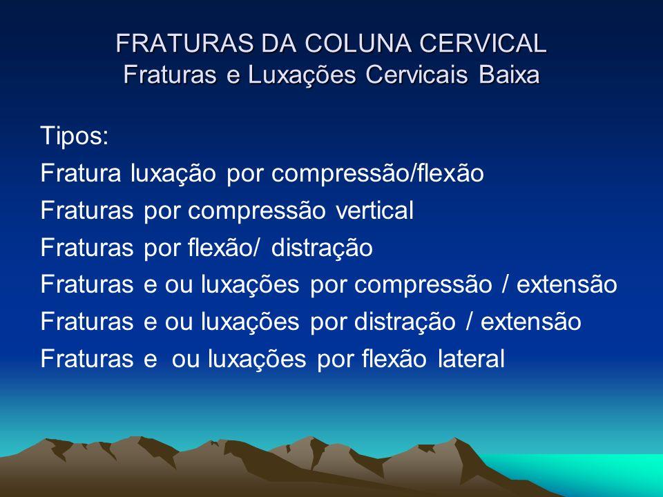 FRATURAS DA COLUNA CERVICAL Fraturas e Luxações Cervicais Baixa