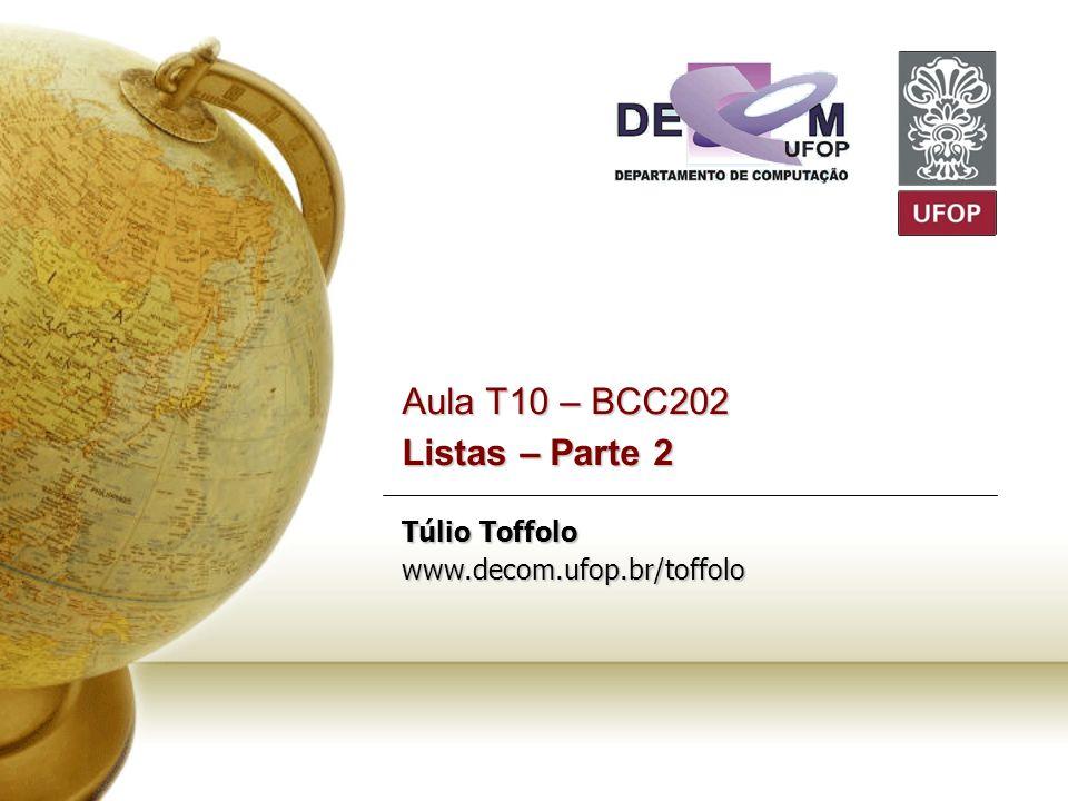 Aula T10 – BCC202 Listas – Parte 2 Túlio Toffolo www. decom. ufop