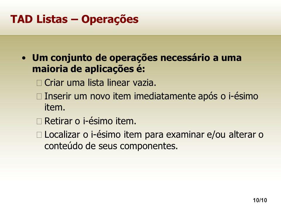 TAD Listas – Operações Um conjunto de operações necessário a uma maioria de aplicações é: Criar uma lista linear vazia.