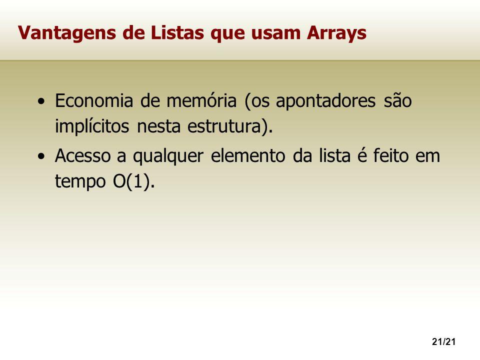 Vantagens de Listas que usam Arrays