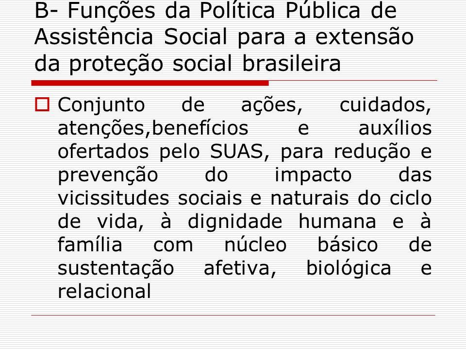 B- Funções da Política Pública de Assistência Social para a extensão da proteção social brasileira