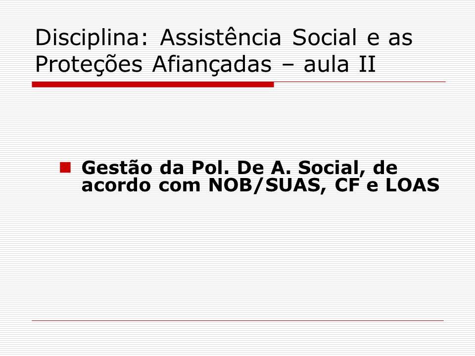 Disciplina: Assistência Social e as Proteções Afiançadas – aula II