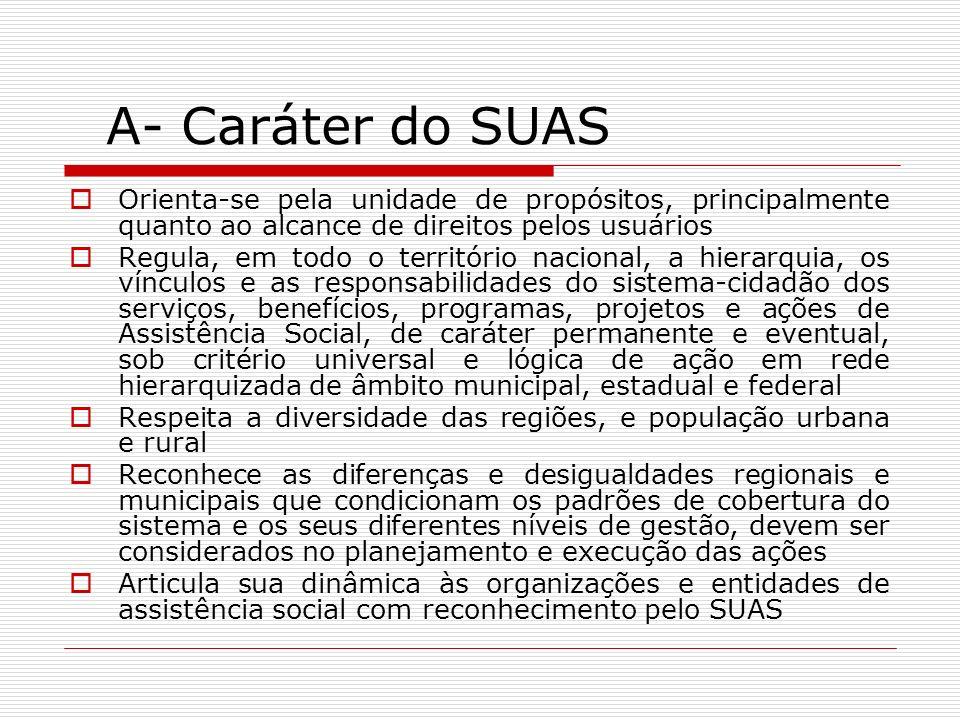 A- Caráter do SUAS Orienta-se pela unidade de propósitos, principalmente quanto ao alcance de direitos pelos usuários.