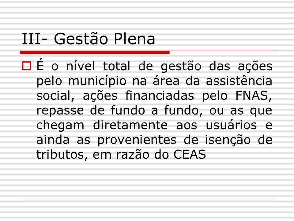 III- Gestão Plena