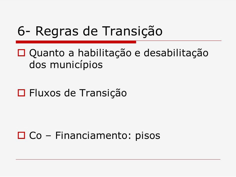 6- Regras de Transição Quanto a habilitação e desabilitação dos municípios.