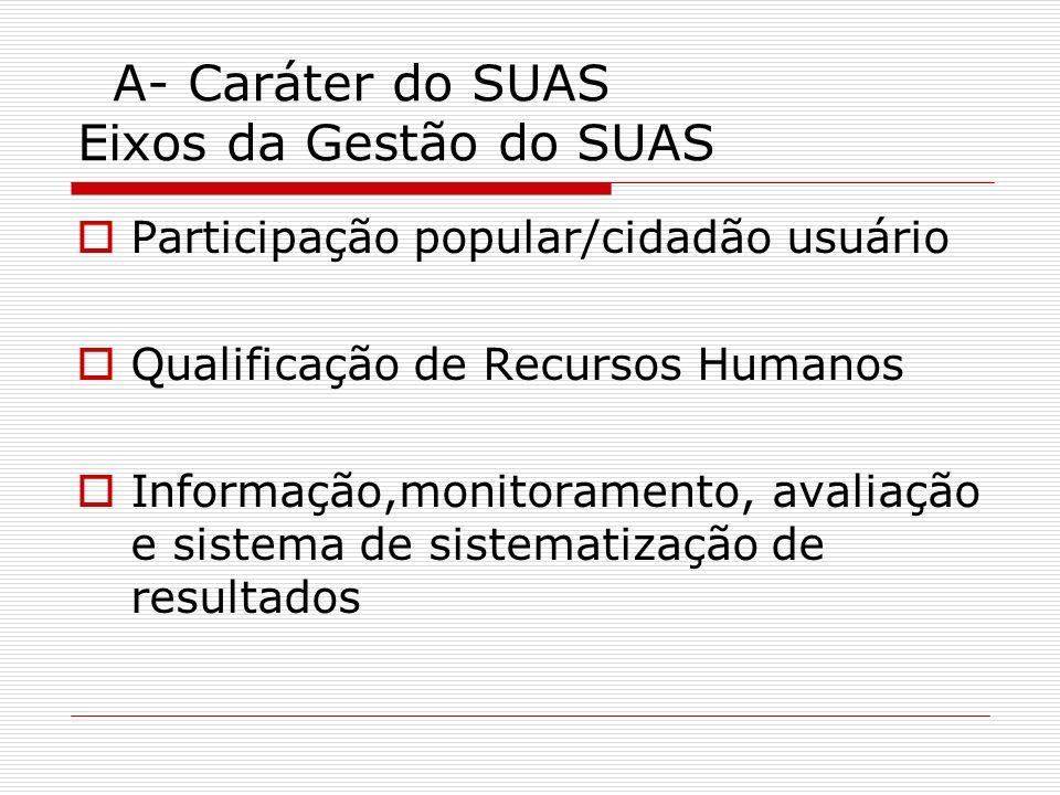 A- Caráter do SUAS Eixos da Gestão do SUAS