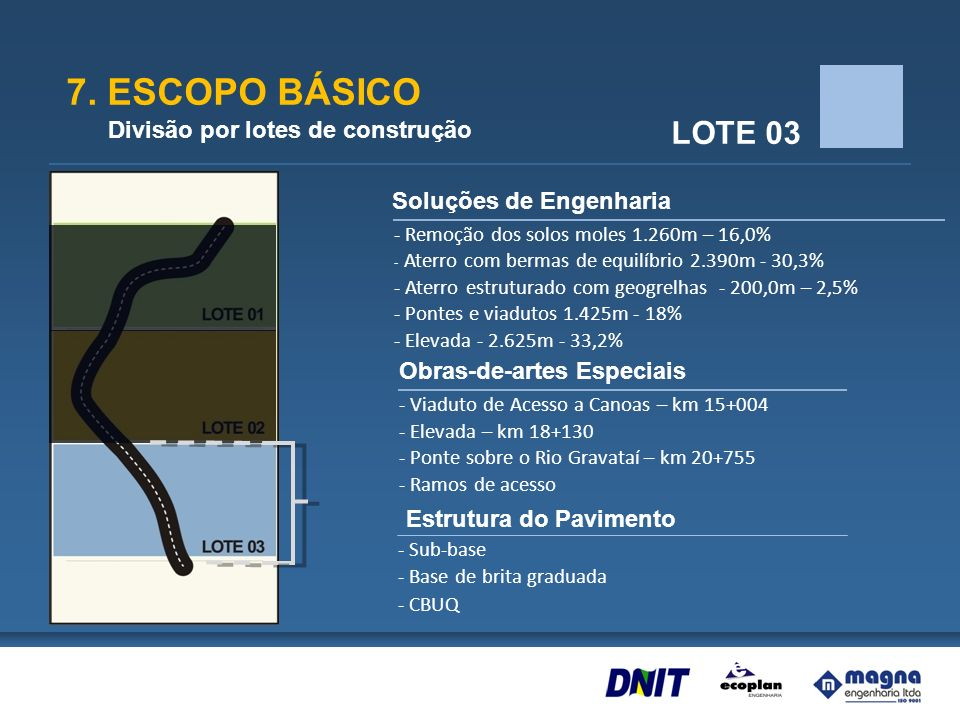 7. ESCOPO BÁSICO LOTE 03 Divisão por lotes de construção