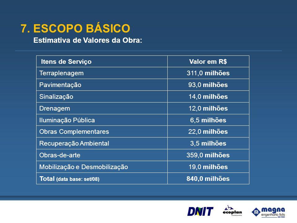 7. ESCOPO BÁSICO Estimativa de Valores da Obra: 840,0 milhões