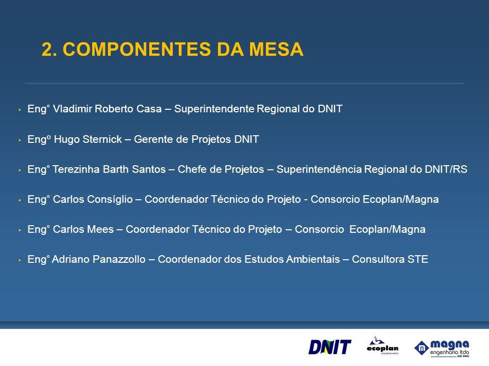 2. COMPONENTES DA MESA Eng° Vladimir Roberto Casa – Superintendente Regional do DNIT. Engº Hugo Sternick – Gerente de Projetos DNIT.