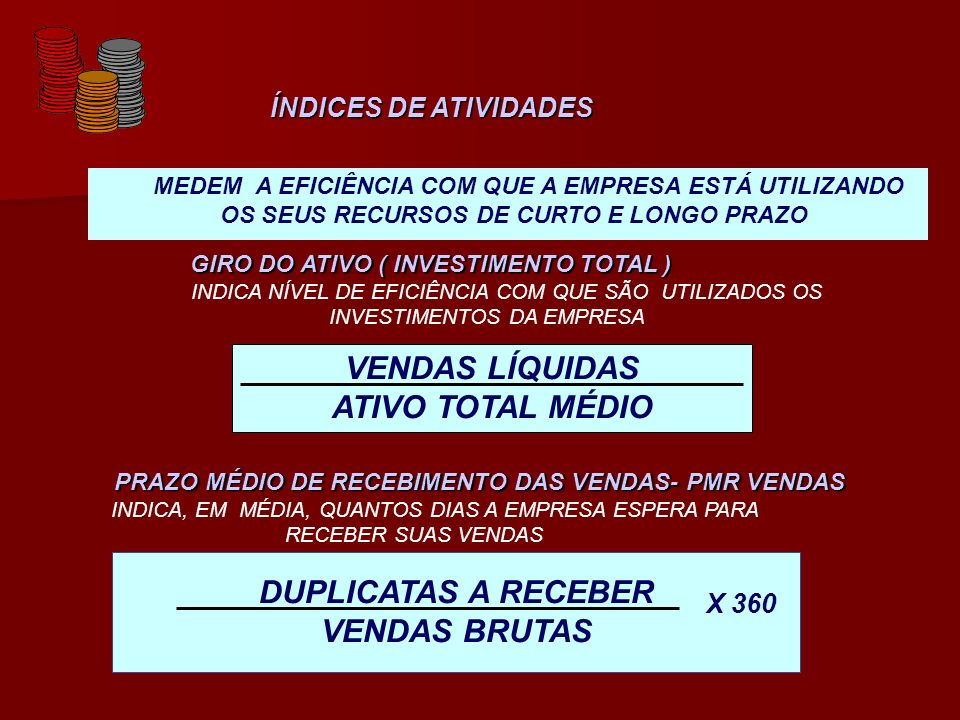 VENDAS LÍQUIDAS ATIVO TOTAL MÉDIO DUPLICATAS A RECEBER VENDAS BRUTAS