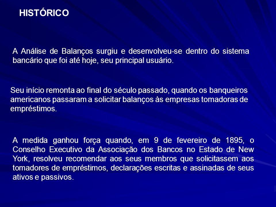 HISTÓRICO A Análise de Balanços surgiu e desenvolveu-se dentro do sistema bancário que foi até hoje, seu principal usuário.