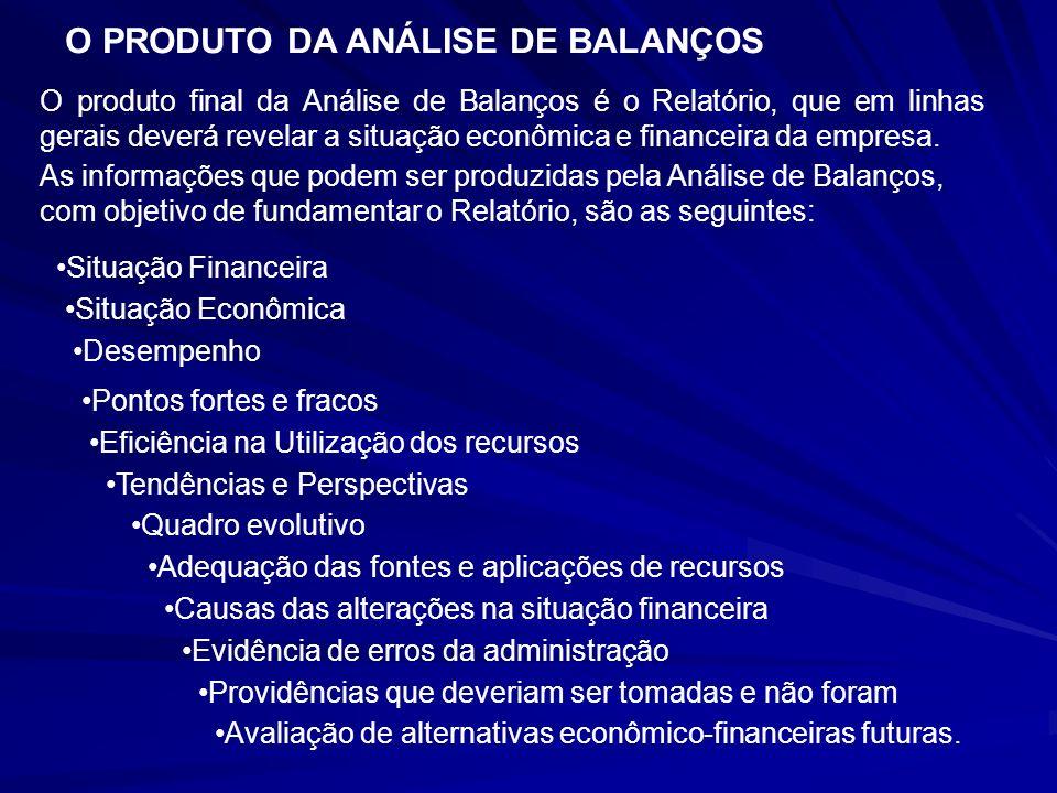 O PRODUTO DA ANÁLISE DE BALANÇOS