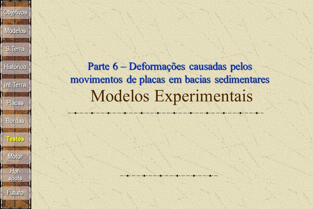 Objetivos Modelos. Parte 6 – Deformações causadas pelos movimentos de placas em bacias sedimentares Modelos Experimentais.