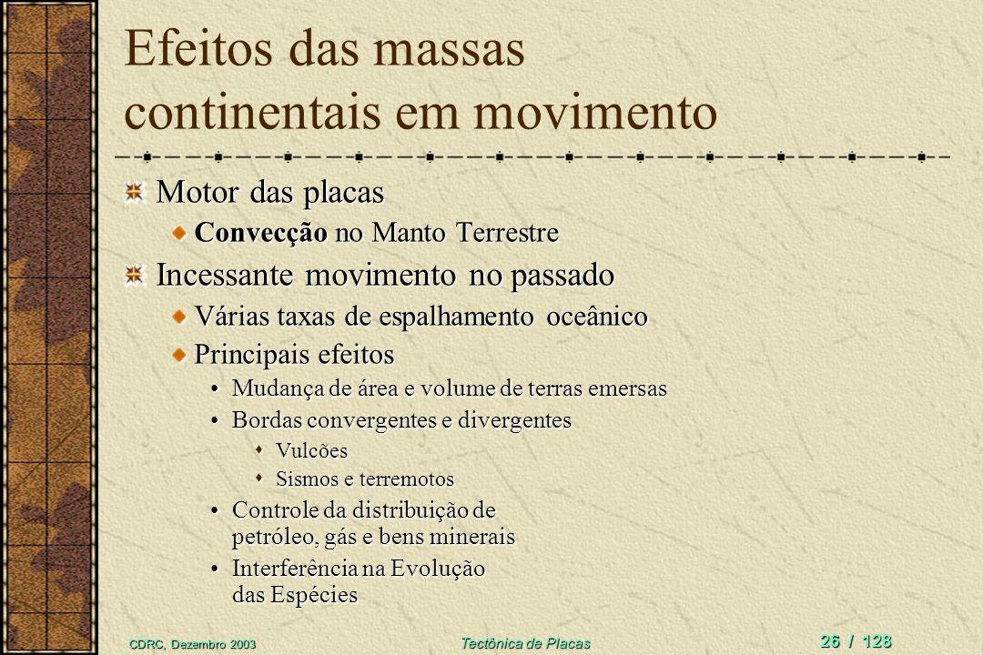 Efeitos das massas continentais em movimento