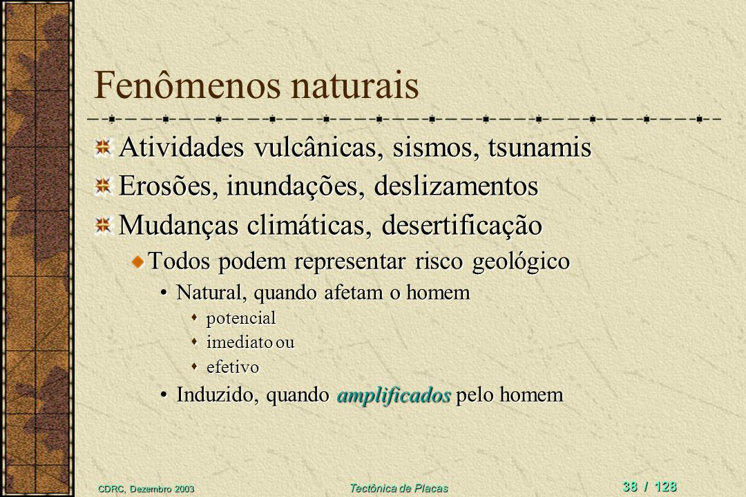 Fenômenos naturais Atividades vulcânicas, sismos, tsunamis