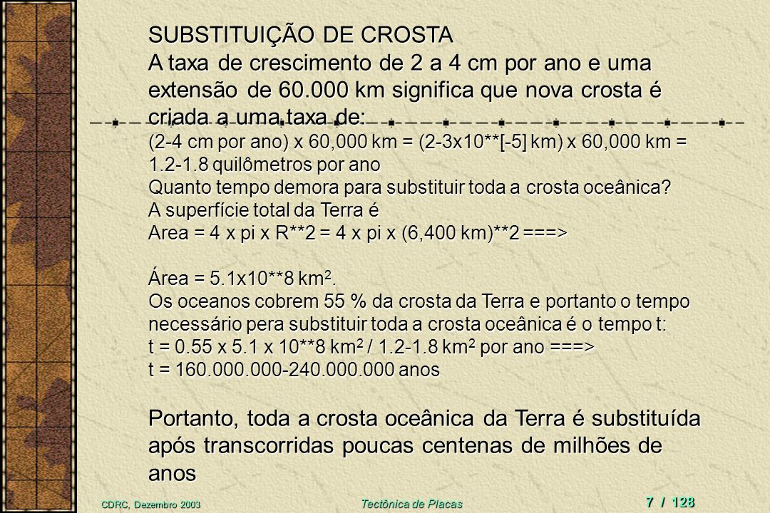 SUBSTITUIÇÃO DE CROSTA