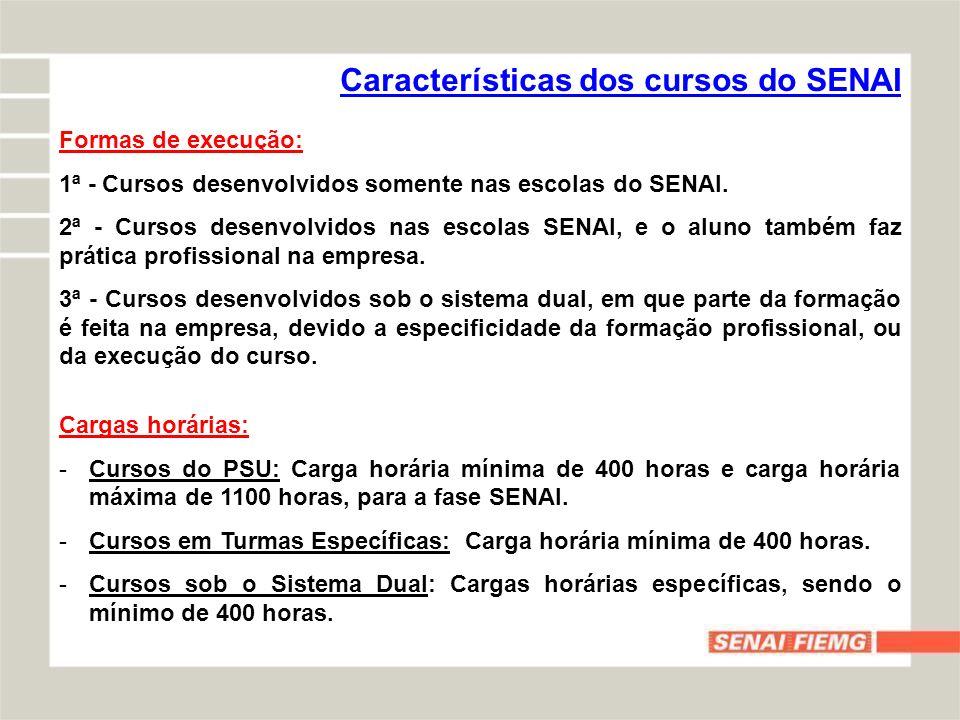 Características dos cursos do SENAI