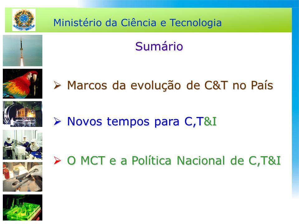 SumárioMarcos da evolução de C&T no País.Novos tempos para C,T&I.