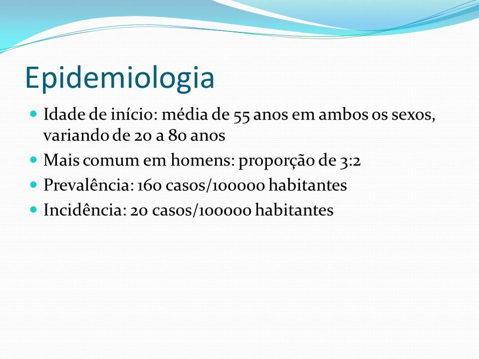 EpidemiologiaIdade de início: média de 55 anos em ambos os sexos, variando de 20 a 80 anos. Mais comum em homens: proporção de 3:2.