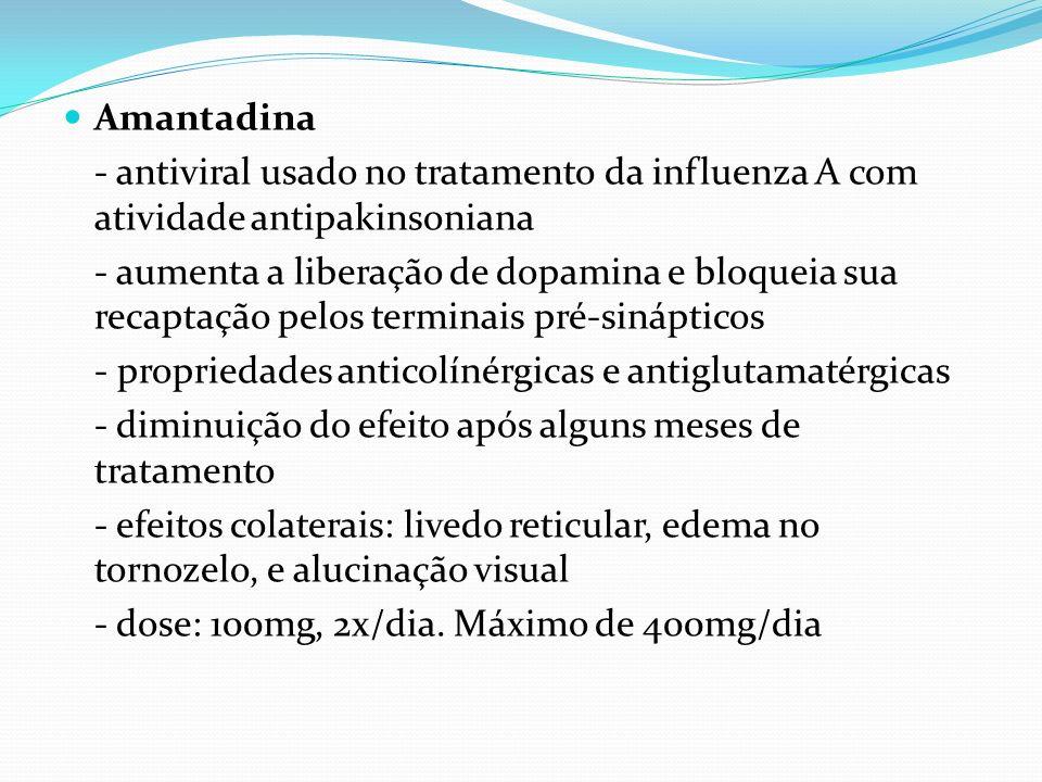 Amantadina- antiviral usado no tratamento da influenza A com atividade antipakinsoniana.