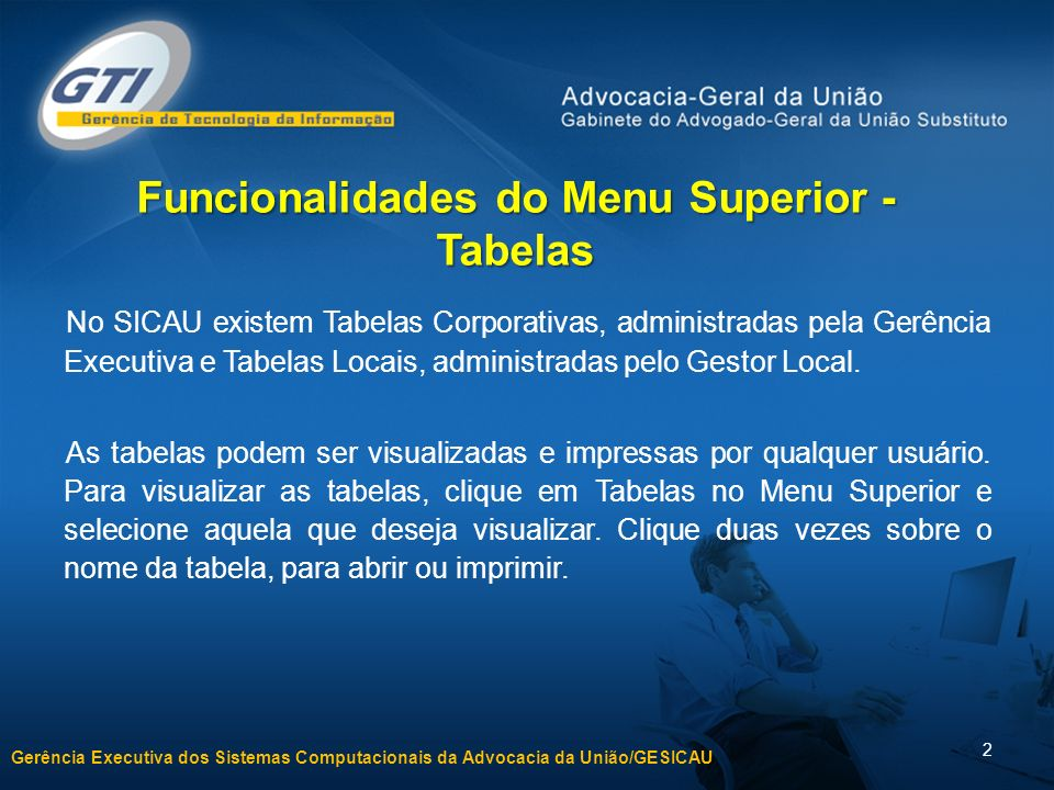 Funcionalidades do Menu Superior - Tabelas