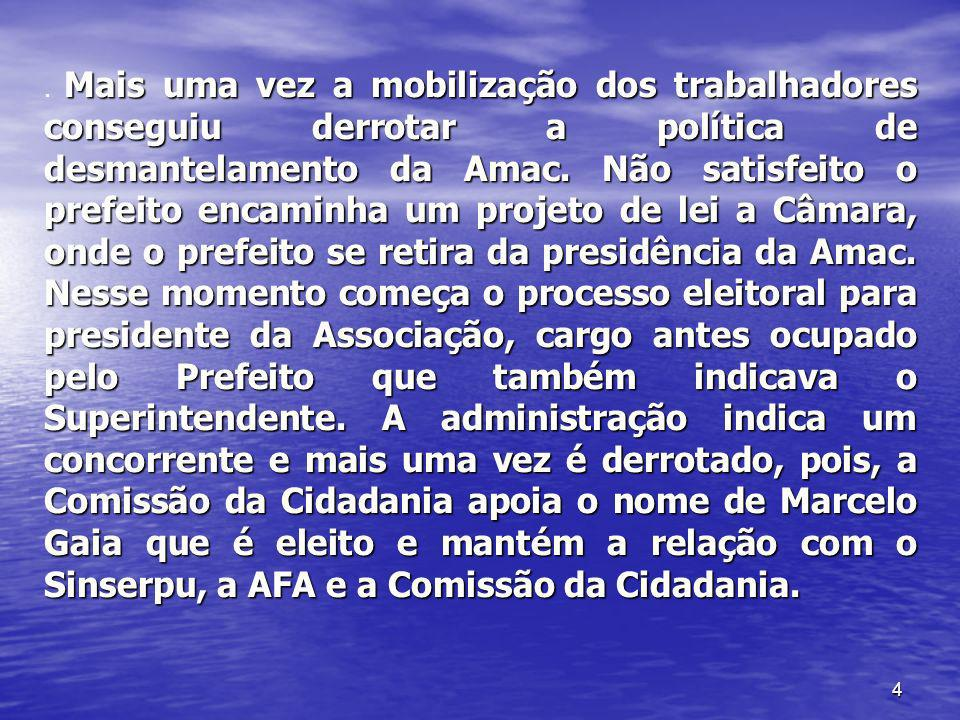 Mais uma vez a mobilização dos trabalhadores conseguiu derrotar a política de desmantelamento da Amac.