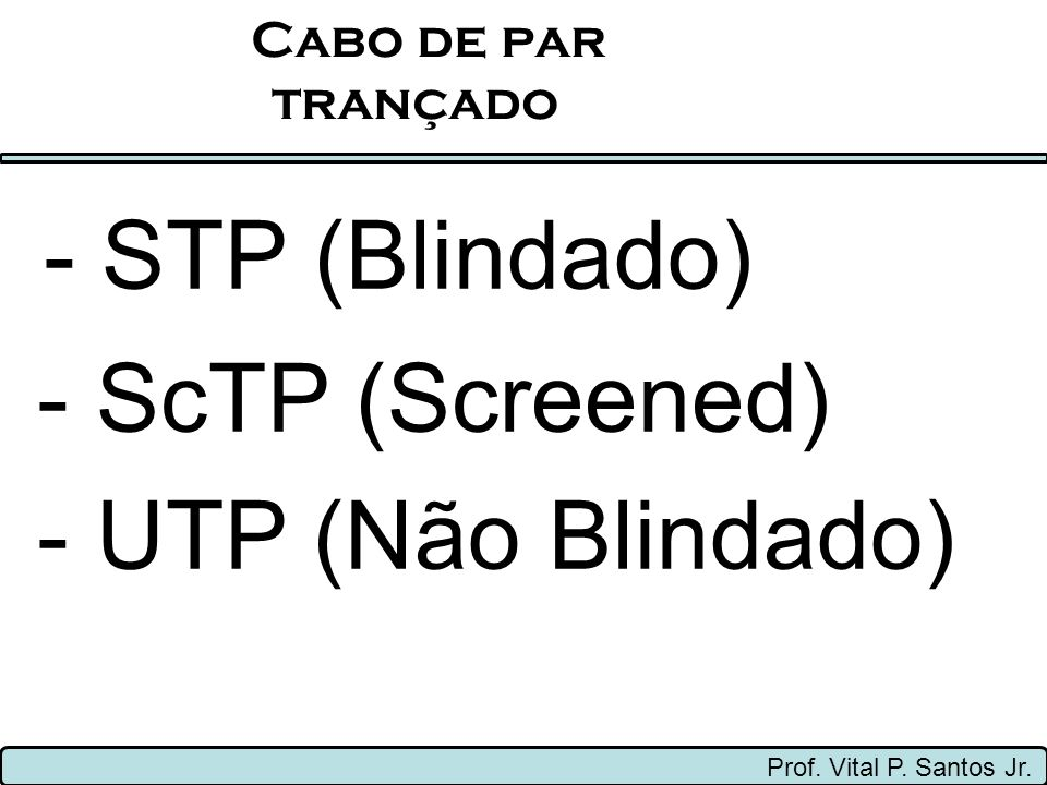 - STP (Blindado) - ScTP (Screened) - UTP (Não Blindado) Cabo de par