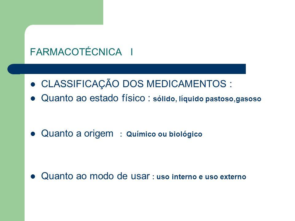 FARMACOTÉCNICA ICLASSIFICAÇÃO DOS MEDICAMENTOS : Quanto ao estado físico : sólido, líquido pastoso,gasoso.