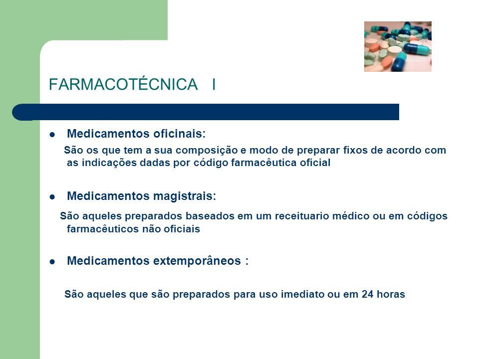 FARMACOTÉCNICA IMedicamentos oficinais: