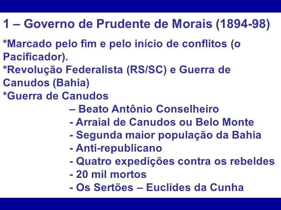 1 – Governo de Prudente de Morais (1894-98)