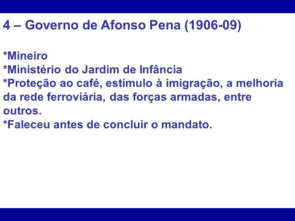 4 – Governo de Afonso Pena (1906-09)
