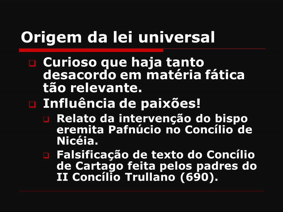 Origem da lei universal