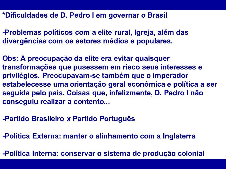 *Dificuldades de D. Pedro I em governar o Brasil