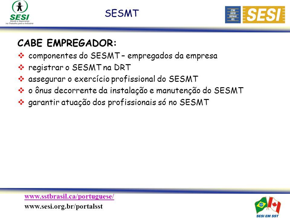 SESMT CABE EMPREGADOR: componentes do SESMT – empregados da empresa