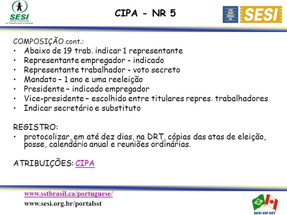 CIPA - NR 5 Abaixo de 19 trab. indicar 1 representante