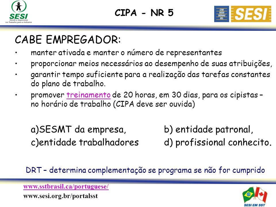 CIPA - NR 5 CABE EMPREGADOR: manter ativada e manter o número de representantes. proporcionar meios necessários ao desempenho de suas atribuições,
