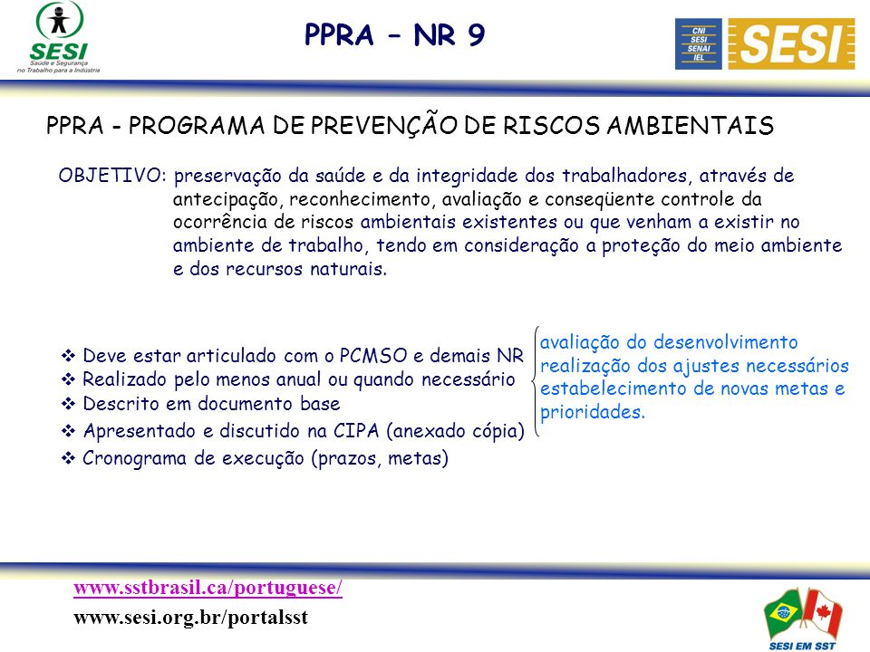 PPRA – NR 9 PPRA - PROGRAMA DE PREVENÇÃO DE RISCOS AMBIENTAIS