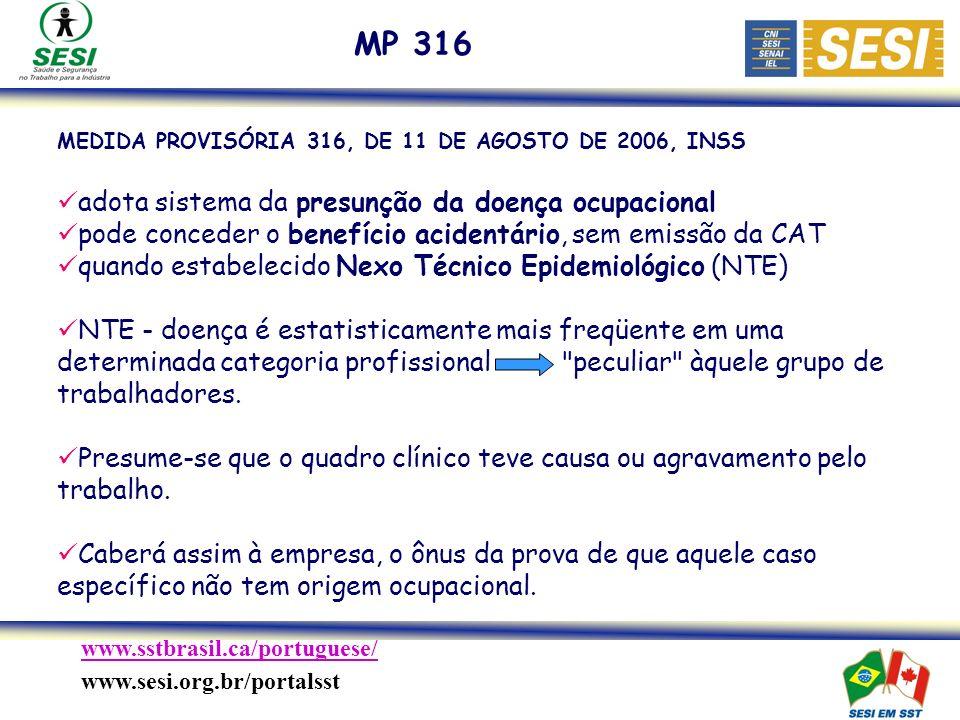 MP 316 adota sistema da presunção da doença ocupacional
