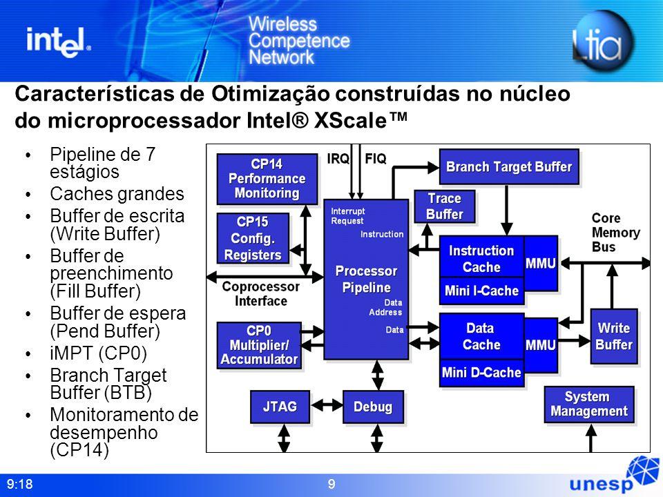 Características de Otimização construídas no núcleo do microprocessador Intel® XScale™