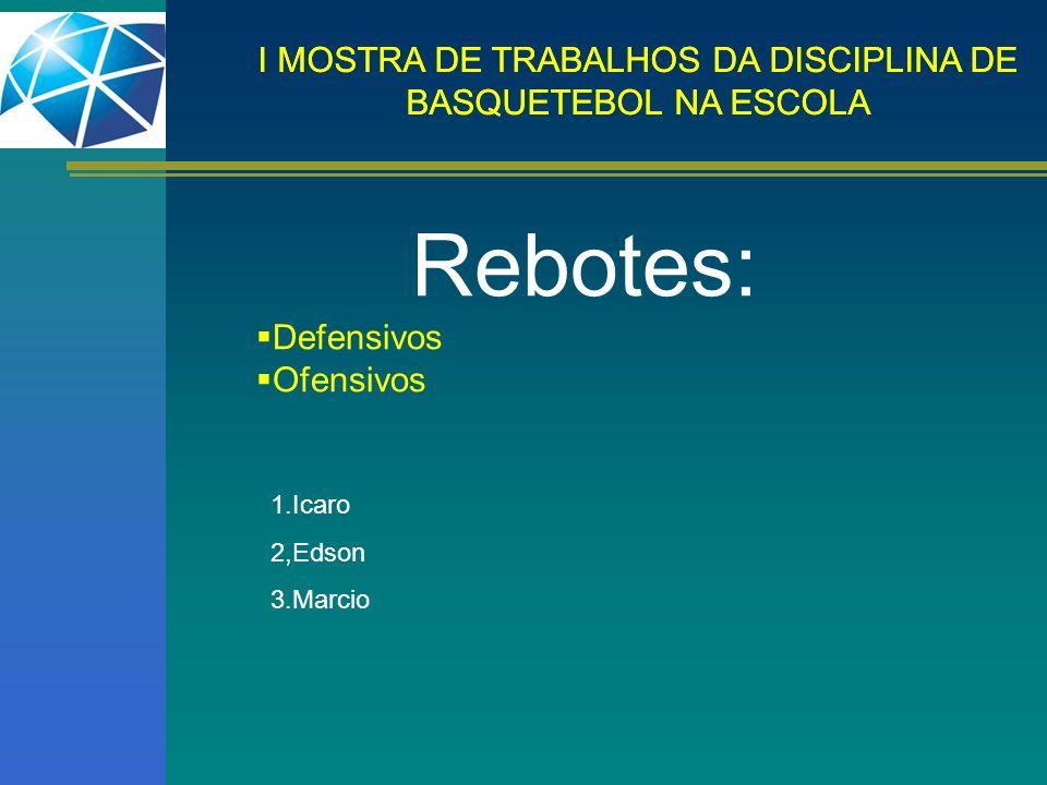 Rebotes: Defensivos Ofensivos 1.Icaro 2,Edson 3.Marcio