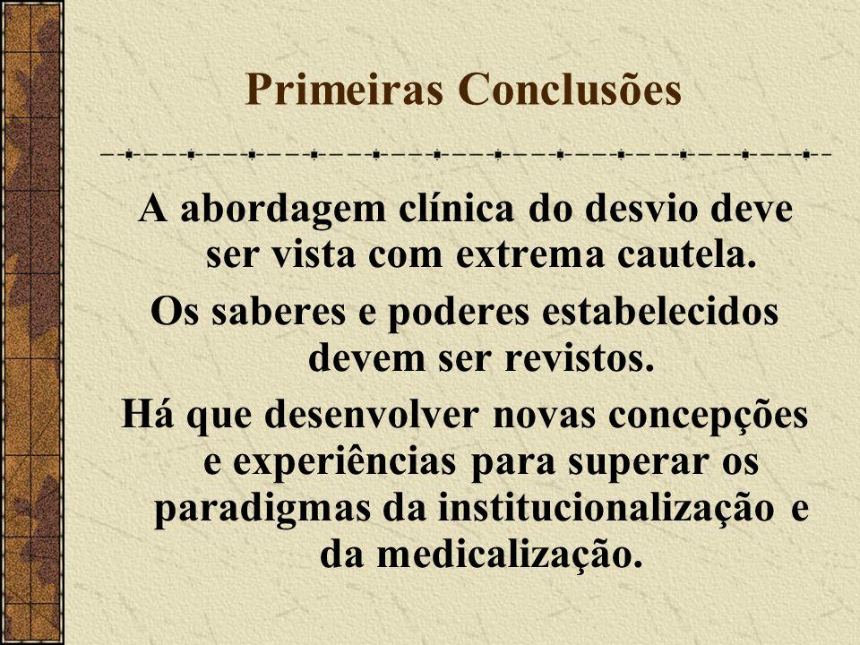 Primeiras Conclusões A abordagem clínica do desvio deve ser vista com extrema cautela. Os saberes e poderes estabelecidos devem ser revistos.